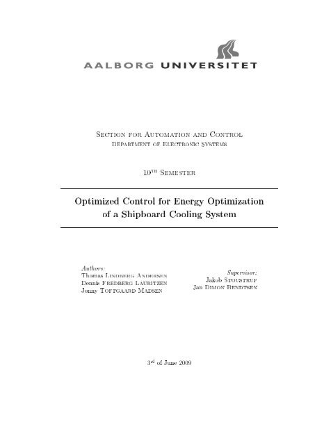 Optimized Control for Energy Optimization of a Shipboard Cooling ...