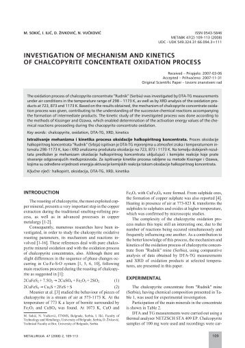 investigation of mechanism and kinetics of chalcopyrite concentrate ...