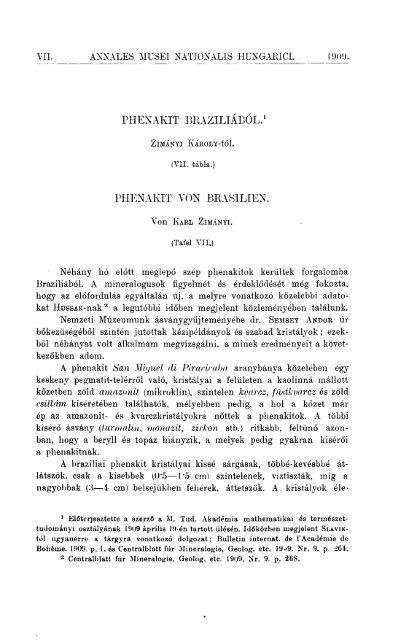 A Magyar Természettudományi Múzeum évkönyve 7. (Budapest 1909)