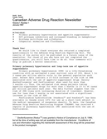 Canadian Adverse Drug Reaction Newsletter, Volume 7, Number 1,