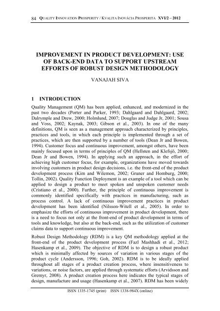 improvement in product development: use of back-end data to ...