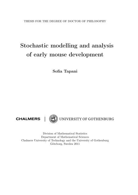 Stochastic modelling and analysis of early mouse development