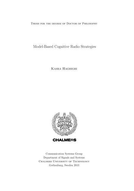 Model-Based Cognitive Radio Strategies