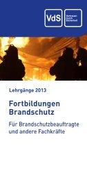 Fortbildungen Brandschutz 2013 - VdS