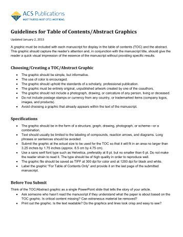 Guidelines for Table of Contents/Abstract Graphics