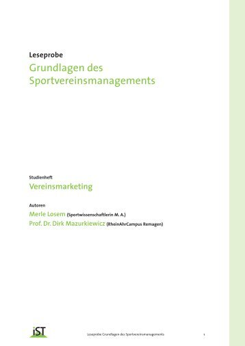 Grundlagen des Sportvereinsmanagements - IST-Studieninstitut