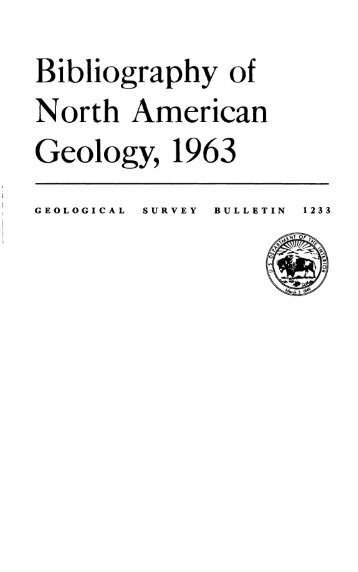Bibliography of North American Geology, 1963 - USGS