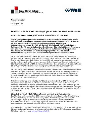 Ernst,Litfaß,Schule erhält zum 30,jährigen Jubiläum ihr ... - Wall AG