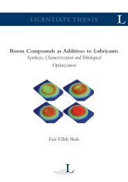 Boron compounds as additives to lubricants - Luleå University of ...
