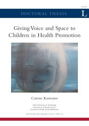 Giving voice and space to children in health promotion - Luleå ...