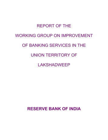 report of the working group on improvement of banking services