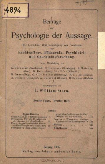 Beiträge zur Psychologie der Aussage.