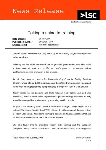 Taking a shine to training - lsc.gov.uk - Learning and Skills Council