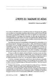 Dossier A PROPOS DE L'IMAGINAIRE DES MEDIAS