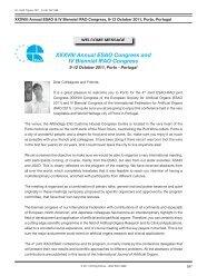 XXXVIII Annual ESAO Congress and IV Biennial IFAO Congress