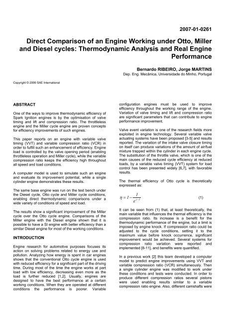 Direct Comparison of an Engine Working under Otto, Miller
