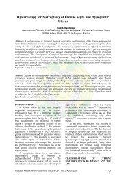 Hysteroscopy for Metroplasty of Uterine Septa and Hypoplastic Uterus