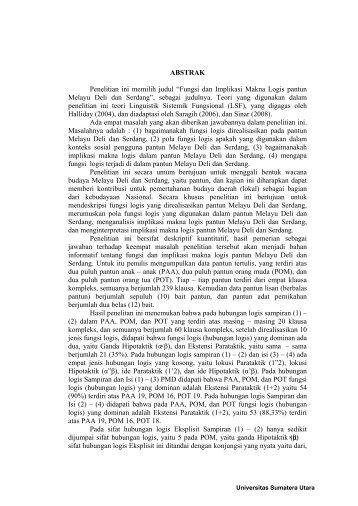 Fungsi Dan Implikasi Makna Logis - USU Institutional Repository