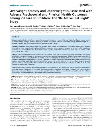 Overweight, Obesity and Underweight Is Associated with ... - RePub