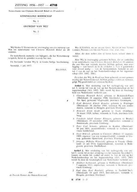 Naturalisatie van Clemens Heinrich Bokel en 20