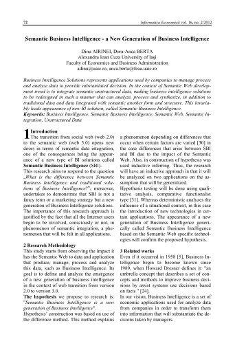 Semantic Business Intelligence - Informatica Economica