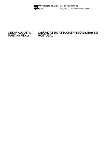 césar augusto martins mexia dinâmicas do associativismo militar em ...