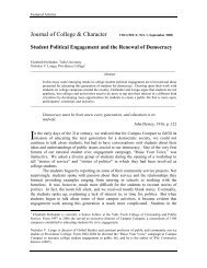 Journal of College & Character VOLUME X, NO. 1, September 2008