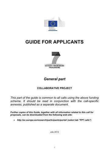 GUIDE FOR APPLICANTS - European Commission - Europa