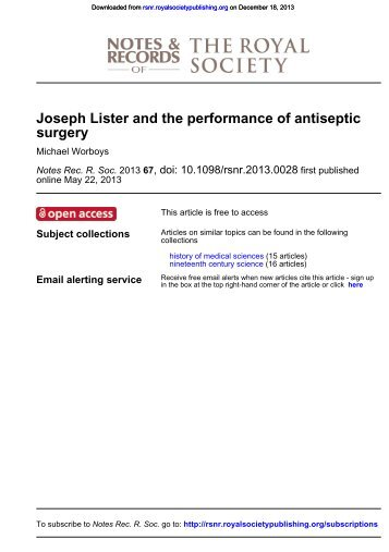JOSEPH LISTER AND THE PERFORMANCE OF ANTISEPTIC ...