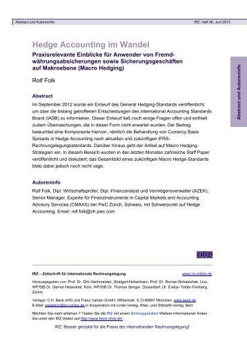 Hedge Accounting im Wandel - Verlag C. H. Beck oHG