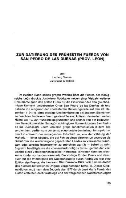 zur datierung des frühesten fueros von san pedro de las dueñas