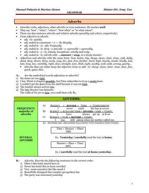 Adverbs ADVERBS: - RUA