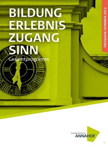 Bildung erleBniS zugang Sinn - Evangelisches Forum Annahof