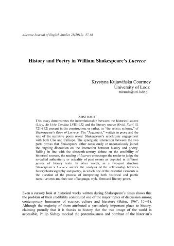 History and Poetry in William Shakespeare's Lucrece - RUA