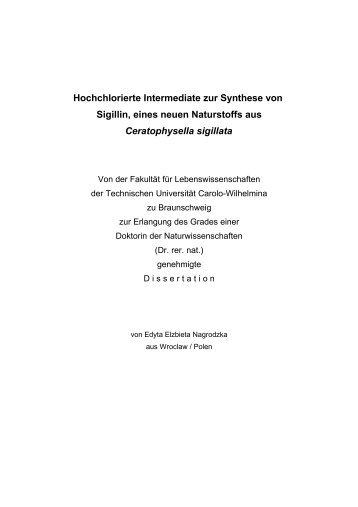 Hochchlorierte Intermediate zur Synthese von Sigillin, eines neuen ...