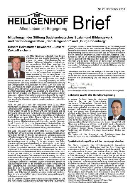 Heiligenhofbrief 2013-2014