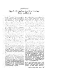 Das Bundesverfassungsgericht zwischen Recht und Politik
