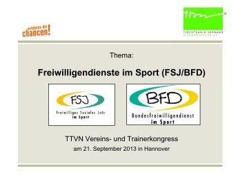 Freiwilligendienste im Sport (FSJ/BFD) - TTVN