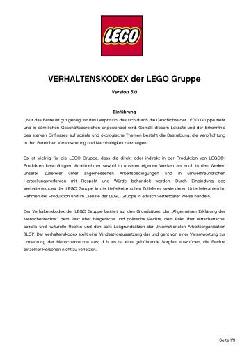Code of Conduct in German - Lego