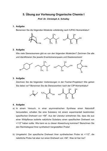 5. Übung zur Vorlesung Organische Chemie I
