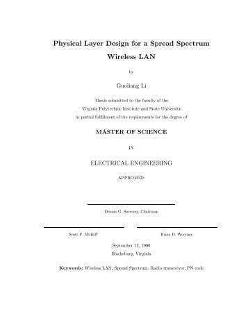 Physical Layer Design for a Spread Spectrum Wireless LAN