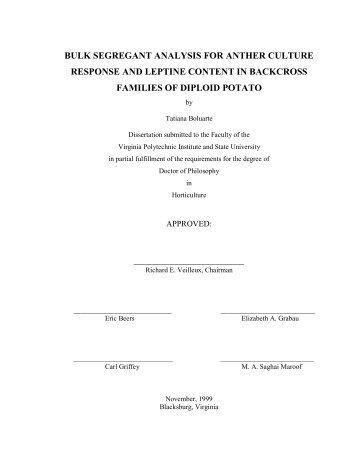 bulk segregant analysis for anther culture response ... - Virginia Tech