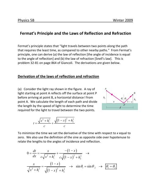 Fermat's Principle and the Laws of Reflection and Refraction