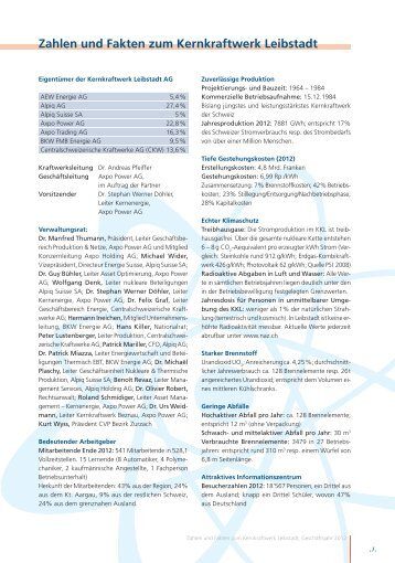 und Faktenblatt zu Technischer Beschreibung KKL (2012)