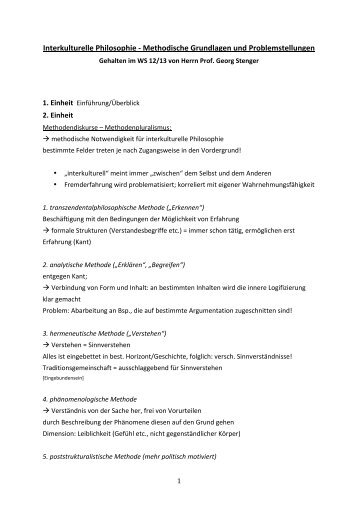 Page 1 1 Interkulturelle Philosophie -‐ Methodische Grundlagen und ...