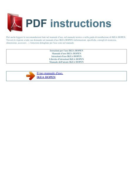 Istruzioni Per Luso Ikea Hopen Istruzioni Pdf