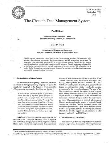 The Cheetah Data Management System - SLAC - Stanford University