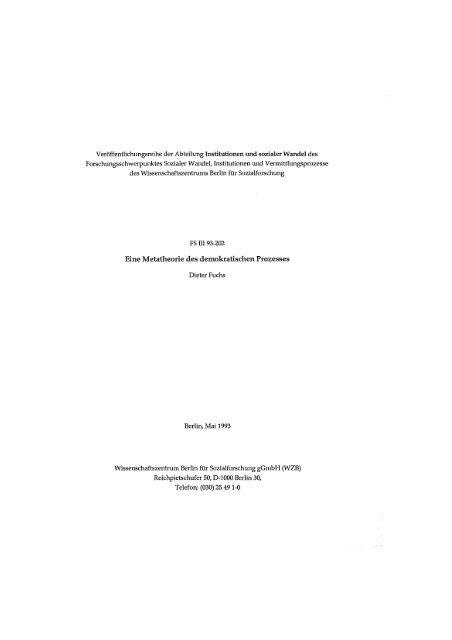 Eine Metatheorie des demokratischen Prozesses - WZB