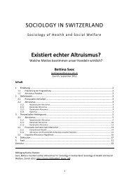 Existiert echter Altruismus? - Sociology of Switzerland