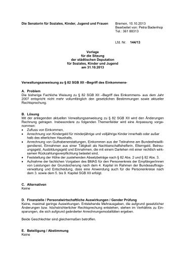 Verwaltungsanweisung zu § 82 SGB XII - Die Senatorin für Soziales ...